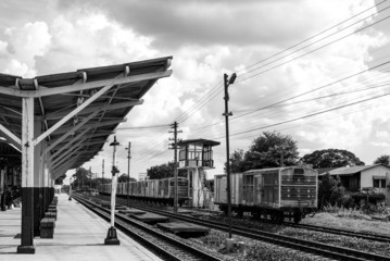 black and white railway station