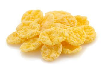 corn flakes on white background