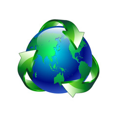 vector illustration Isolated of a clean green blue planet recycl
