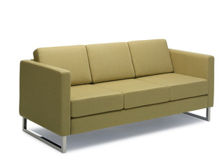 Modern green sofa isolated on white background Note to editor: