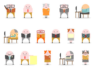 Funny little men in hipster style. Vector illustration.