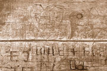 Holz Hintergrund braun Herz Schrift