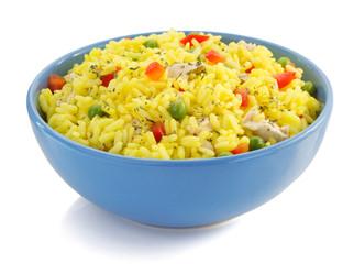 bowl full of rice on white