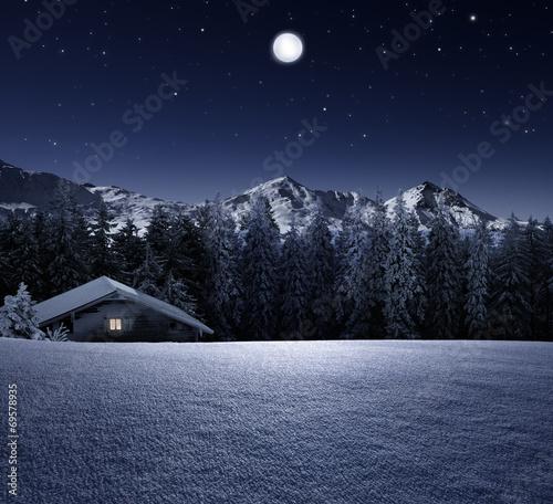 canvas print picture Schihütte bei Mondschein
