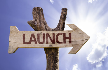 Launch sign with a beautiful day on background