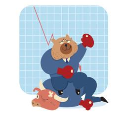 bear vector cartoon win over bull in stock market