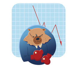 bear vector cartoon ready to take over stock market