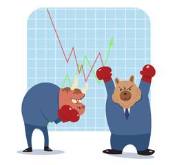 bear and bull vector cartoon ready to fight in stock market