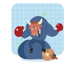 bull vector cartoon win over bear in stock market