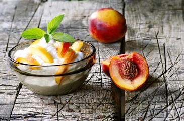 nectarines with cream