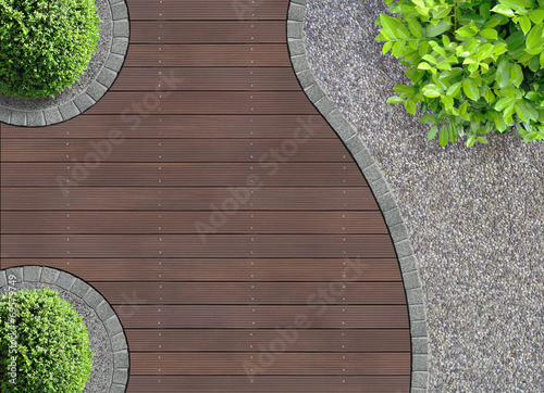 canvas print picture Gartenarchitektur Detail von oben
