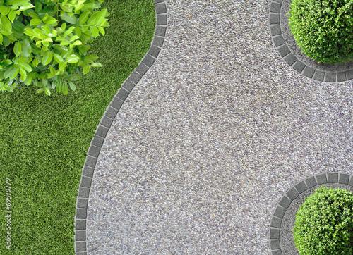 canvas print picture Kiesweg Garten Vogelperspektive