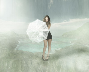 girl with umbrella in a oceanic atmosphere