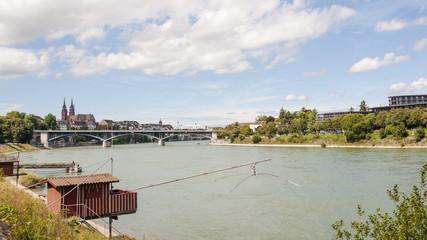 Basel, Altstadt, Rhein, Münster, Rheinufer, Sommer, Schweiz