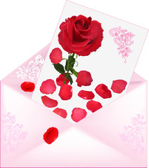 pink envelope with rose decorated card