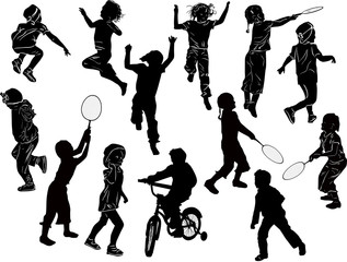 fourteen playing child silhouettes collection on white