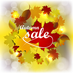 Autumn sale, background with colored leaves