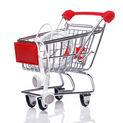 Shopping trolley and earphones