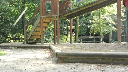 empty playground in the forest