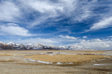 Amazing view of high Tibetan plateau and cloudy sky
