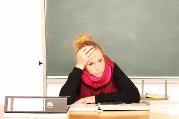 gestresste Schülerin
