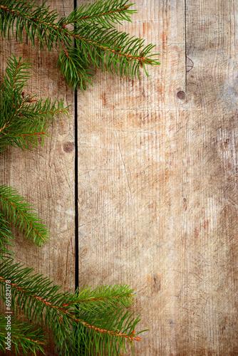 canvas print picture Holzhintergrund mit Reisig