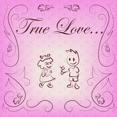 linear boy and girl in love on pink background with pattern
