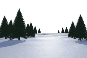 White snowy landscape with trees