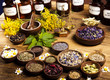 Medicine bottles and herbs  - 69582984