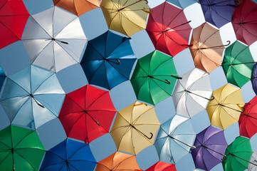 colored umbrellas oblique view