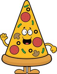 Cartoon Pizza Slice Happy