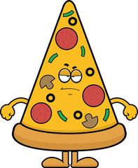 Cartoon Pizza Slice Grumpy