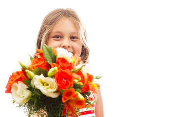 girl with a bouquet of flowers on a white background isolated
