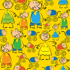 grandmother, grandfather and grandchildren seamless pattern