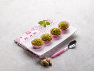 chocolate pralines with pistachio