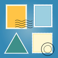 Vector Set Of Blank Colorful Postage Stamps