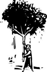 Man with tree