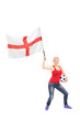 Female football fan waving an English flag