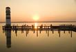 canvas print picture - Leuchttrum am See mit Sonneuntergang