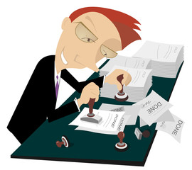Cartoon cheerful businessman stamps on documents