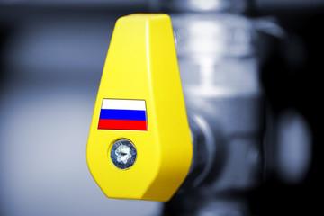 Gashahn mit Russlandfahne, russische Erdgaslieferungen