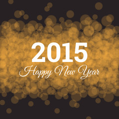 Happy new year card, gold glitter background, twinkled bright