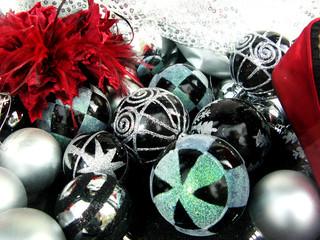 Christmas balls , black and white