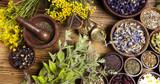 Natural medicine, herbs, mortar - 69585978