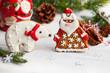 Gingerbread Santa Claus and polar bear