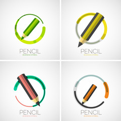 Pencil icon set, company logo, minimal design