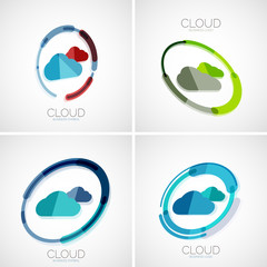 Cloud storage logotype set, 3d minimal design