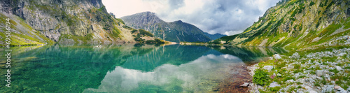 Panoramic view of mountain lake in Tatra mountains