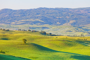 Typical landscape of Tuscany with hills