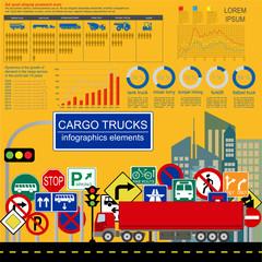 Cargo transportation infographics, trucks, lorry. Elements infog